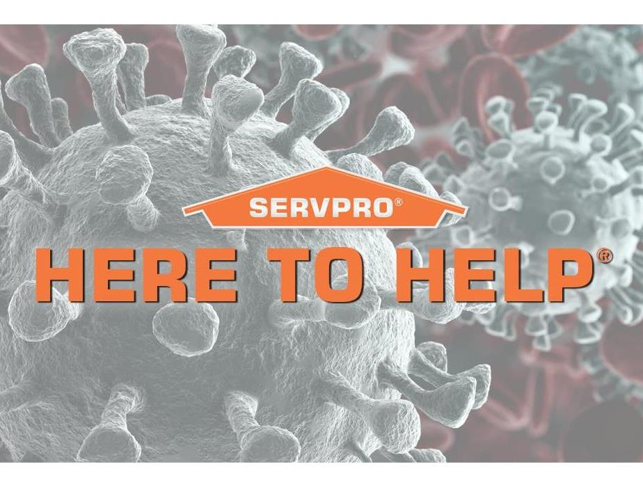 "Coronavirus with SERVPRO logo and ""HERE TO HELP"""